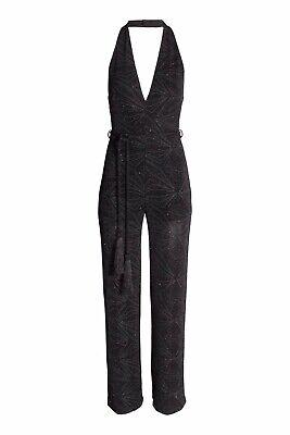 H&M Black sparkling jersey halter top jumpsuit With tassels
