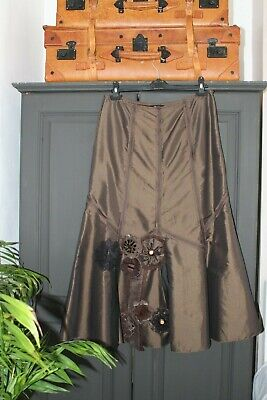 Marks & Spencer Per Una Taffeta Steampunk Lagenlook Embellished Skirt Size 14 R