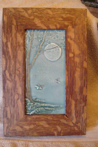 """Oak framed Medicine Bluffs Tile """"Fireflies"""" ArtsandCraftsman Mitered Oak Frame"""