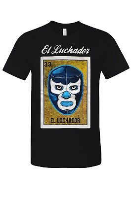 El Luchador Loteria Mexican Bingo Arts Humor T-Shirt Novelty Funny Tee Black New Novelty Humor T-shirt