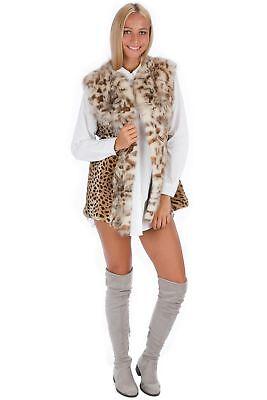 Fur Leopard Pressure fox collar fashion blogger style 40 - 42 Fur Vest М EX