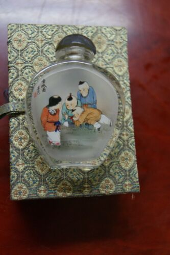 Signed Inside Painted Chinese Glass Snuff Bottle Children