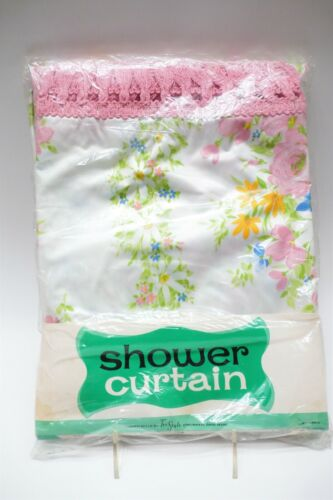 VINTAGE NOS 1960s VINYL SHOWER CURTAIN PINK YELLOW FLOWERS MIDCENTURY