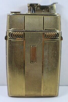Vintage Evans - Art Deco Style - Cigarette Lighter & Case Combination Gold Tone