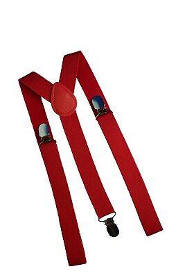 Hosenträger Hot Herren Y-Form elastisch unisex 3 Clips Fasching verstellbar Rot ()