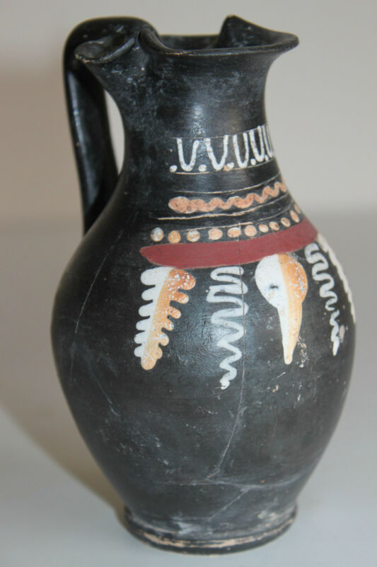 ANCIENT GREEK POTTERY GNATHIAN OLPE 4th CENTURY BC WINE CUP