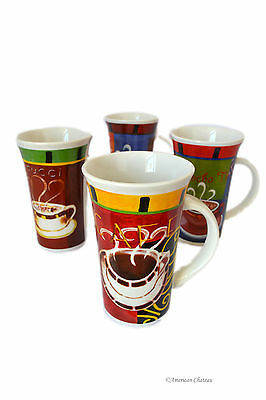 Retro Set 4 Pc Cup 15 Oz French Coffee Latte Mugs Cups Bistro Cafe Decor