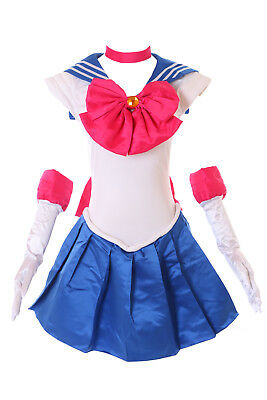 Bunny Sailor Moon Blau Weiß Cosplay Kostüm Kleid Handschuhe (Sailor Moon Kostüm)