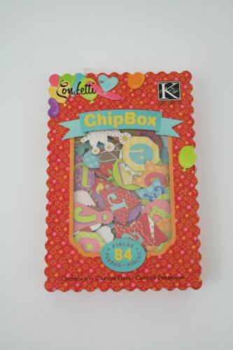 K&Company Confetti Alphabet ChipBox, 84 Chipboard Pcs, Party Shapes & Patterns