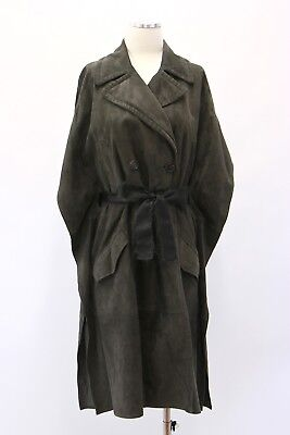 NWT$7745 Brunello Cucinelli Womens Leather Suede Mohair Belt DB Overcoat 42 A181