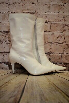 Womens Jeffrey Campbell White Leather Mid Heel Ankle Boots Size UK 6 EUR 39