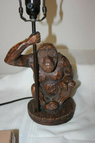 """Heavy 21.5""""×8"""" Resin Monkey Lamp with Matching Lamp Shade Finial"""