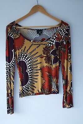 Just Cavalli Long Sleeve Stretch Glitter Accents Top S