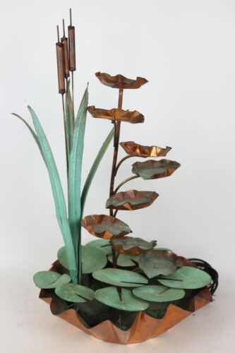 Hand Made Large Solid Copper Lily Pad Cattail Water Feature / Fountain - Works