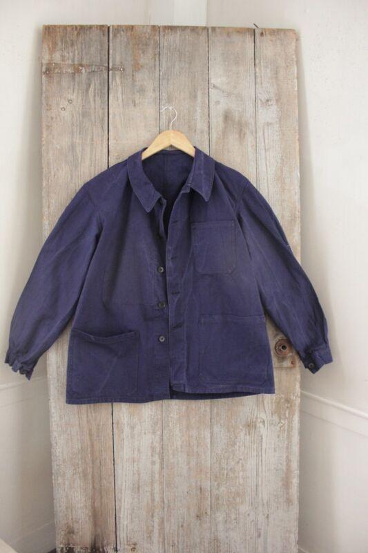 Vintage French peasant travaille bleus Work Chore wear denim blue Jacket coat