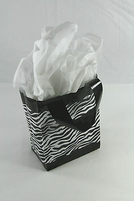 25 Zebra Print Frosted Plastic Goodie Treat Merchandise Party Handle Bags 5x7