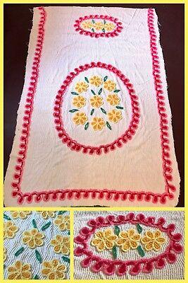 Chenille Vintage Blanket (Vintage Chenille Bedspread Blanket Kids Girls Throw Flower Floral Pink 48 X)