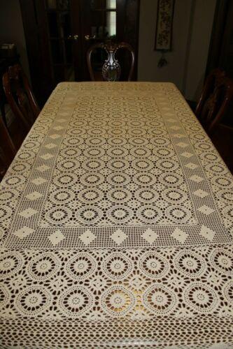 "Vintage Beige Cream Hand Crochet Heavy Cotton Tablecloth 94"" X 60"" Coverlet"