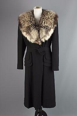 Vtg Women's 1940s Black Wool Dorice Coat w/ Full Fur Collar 40s Size M #1254