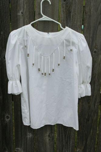 Vintage Malco Modes Western Fancy White Dance Blouse Size M Style 2422