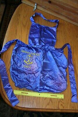 - USN Navy United States Apron Silk blue Sweetheart bib vintage WWII handmade