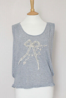 JOHN GALLIANO grey lace bow stretch sleeveless t-shirt tank top blouse M Medium