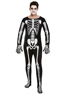 Halloween Mens Fancy Dress Up Male Skeleton Suit Outfit Costume One Size NEW - Skeleton Costume Men