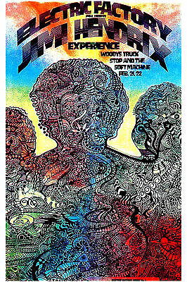 Rock: Jimi Hendrix Experience at The Electric Factory Philadelphia Poster 1968