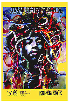 Rock:  Jimi Hendrix at Stuttgart Germany Concert Poster 1969