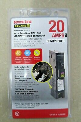Square D Circuit Breaker Homeline 20 Amp Dual Cafigfci Hom120pdfc New