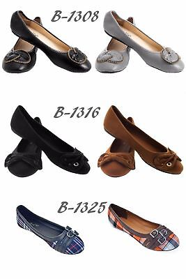 Women Ballerina Ballet Flats, PU Leather Slip-Ons Shoes /w Flower Zipper - Zipper Bow