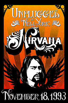 """Grunge: Nirvana """" Unplugged """" in New York Concert Poster 1993"""