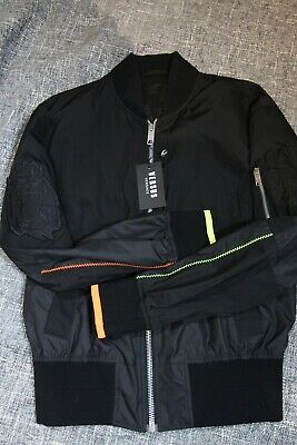 New Versace Versus Mens Black Windbreaker Jacket Coat Neon Accents Italy, Medium