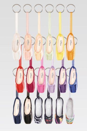 So Danca Mini Satin Pointe Shoe Key Chain, Assort Colors & Prints, NEW