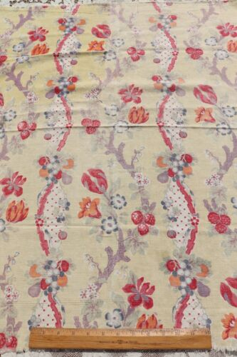 """Rare c1928-1936 French Antique Linen Home Dec Fabric~Indienne Style~33""""X31"""""""