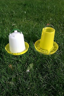 1ltr Drinker & 1kg Feeder for Poultry, Chickens, Chicks, Pigeons or Quail
