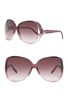 STYLISH BNWOT $350 GUCCI GG506S 010 BORDEAUX BROWN OVERSIZED SQUARE SUNGLASSES