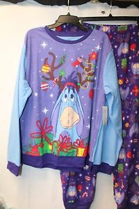 CUTE-NEW-WOMENS-PLUS-SIZE-3X-EEYORE-CHRISTMAS-HOLIDAY-2PC-PAJAMAS-PAJAMA-PJ-SET