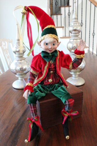 "Elf Raz Imports Elf Christmas Poseable 20"" Red Green Plaid Gold Elf A New"