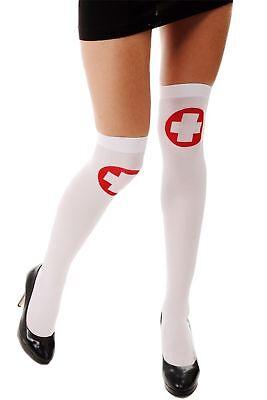 Karneval Fasching Halloween Strümpfe Overknees weiß Krankenschwester rotes Kreuz