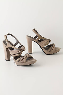 Anthropologie Sandals Open Toe Platform Double Knotted Gray Heels Sizes 38 & 40