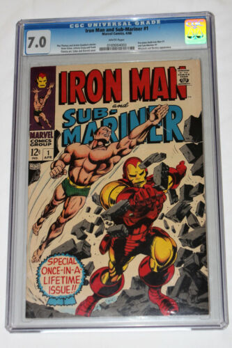 Iron Man and Sub-Mariner #1 CGC 7.0 GRADE Marvel KEY One-Shot WHITE PAGES 1968