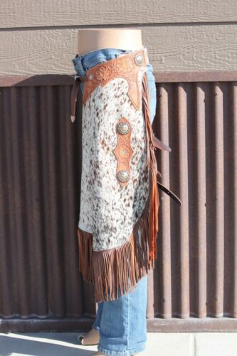 Chinks Chaps Hair on cowhide with floral tooling & Star Conchos