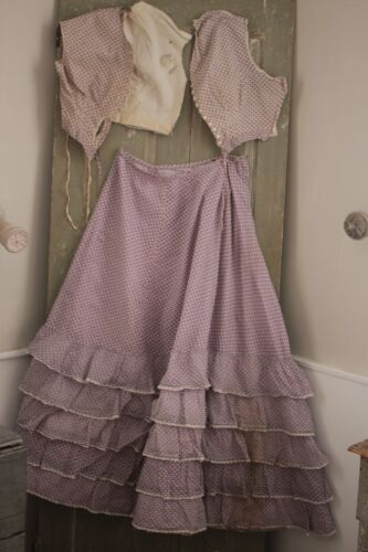 Antique Dress Skirt & bodice or corset set Silk Antique French 1850