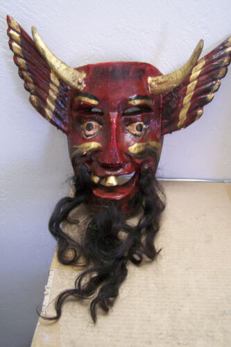 Wooden Mexican Devil Mask with Real Goat Horns, Horse Hair, Wings - Mexico