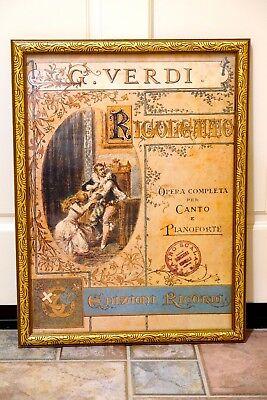 "Beautiful Verdi ""Rigoletto"" Teatro La Scala Poster Mounted in Gilded Wood Frame"