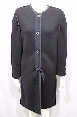 Lanvin Paris Women Black Long Coat Wool Classic Jacket Boat Neck Size 10 Medium