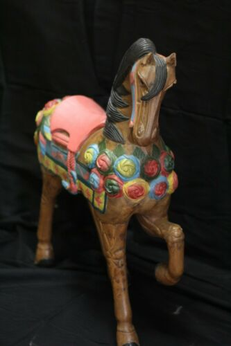 American Beauty Gorgeous Carousel Horse Hand Carved Wood Statue Painted Roses