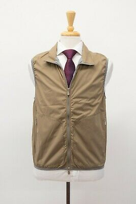 NWT$1195 Brunello Cucinelli Men Zip-Up Vest W/Logo Engraved Hardware Size M A211