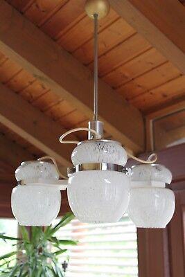 Vintage 50er 60er Jahre Deckenlampe Hängelampe Pendellampe weiß Stablampe Altbau